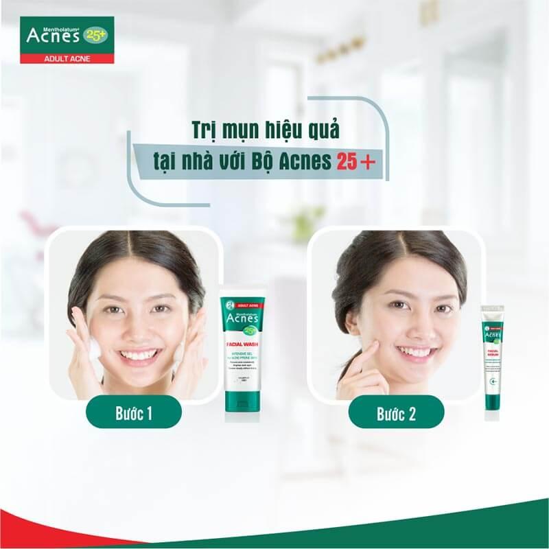 2 bước Trị mụn hiệu quả và ngăn ngừa lão hóa da tuổi trưởng thành với bộ đôi Acnes 25+ Facial