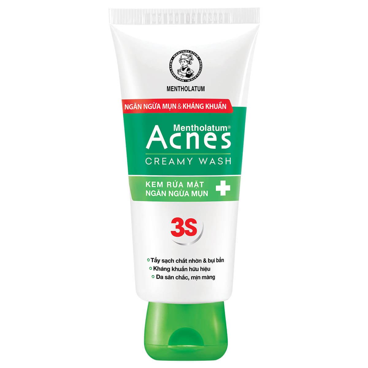 acnes creamy wash sua rua mat tri mun danh cho da kho
