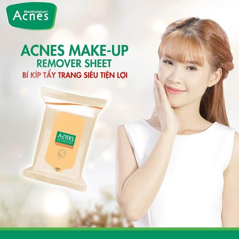 5 công dụng tiện lợi của khăn tẩy trang acnes make up remover sheet