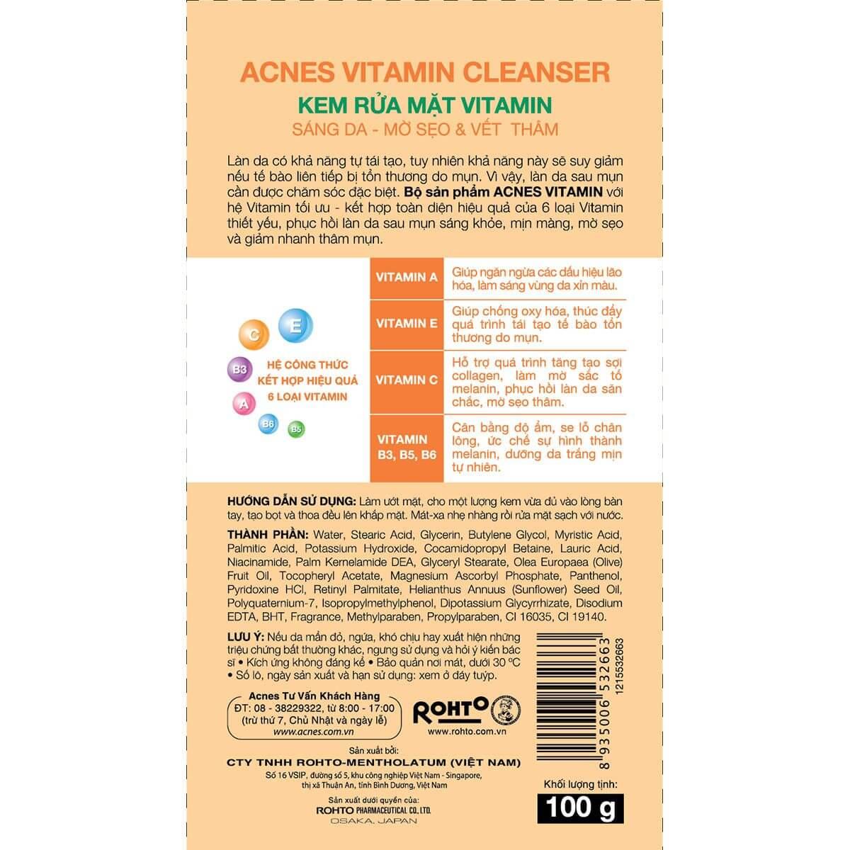 Acnes Vitamin Cleanser - Sữa rửa mặt dưỡng da Vitamin