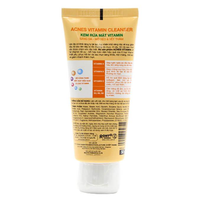 Acnes Vitamin Cleanser - Kem Rửa Mặt Vitamin dưỡng mịn da