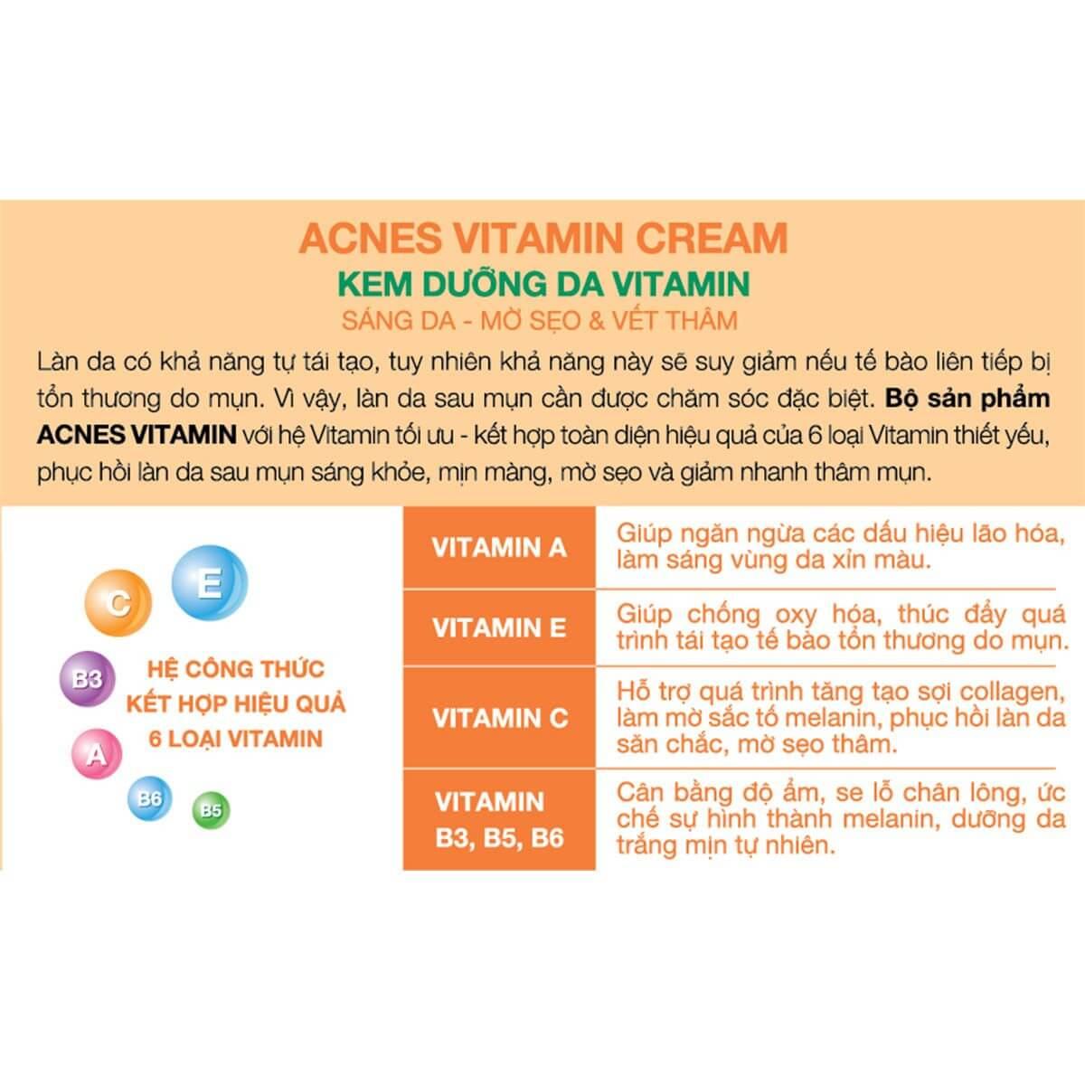 Acnes Vitamin Cream - Kem dưỡng trắng da