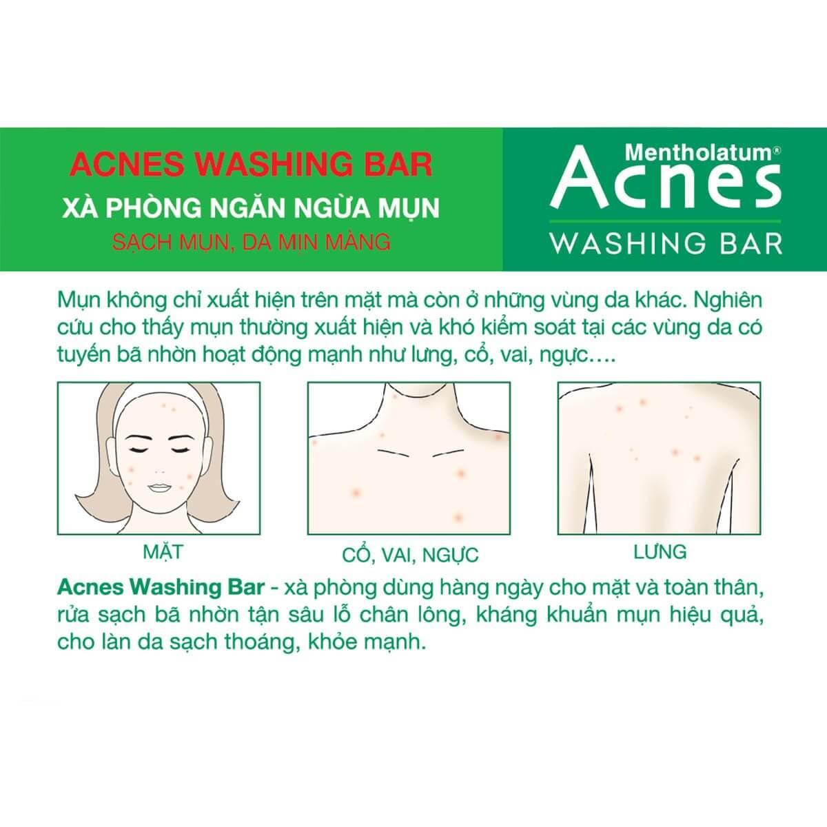 Acnes Washing Bar - Xà phòng kháng khuẩn và trị mụn