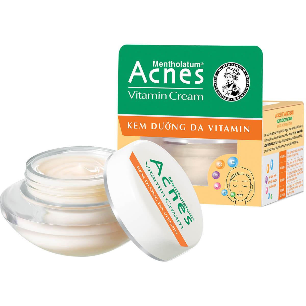 kem duong da acnes vitamin cream voi cac chat vitamin va duong chat giup nuoi duong, phuc hoi lan da khoe manh sau khi dieu tri mun