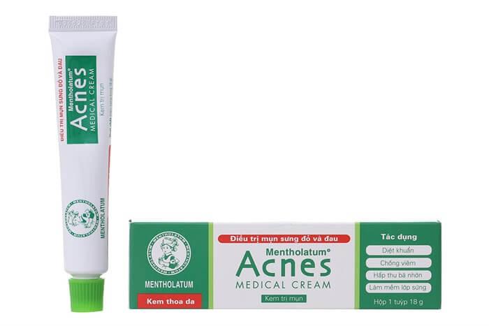 kem trị mụn acnes medical cream trị mụn bọc mụn trứng cá sưng đỏ