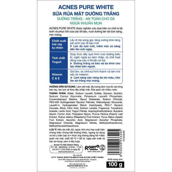 Sữa rửa mặt dưỡng trắng da Acnes Pure White Cleanser