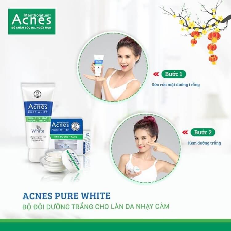 dưỡng trắng cho làn da nhạy cảm thêm xinh cùng acnes
