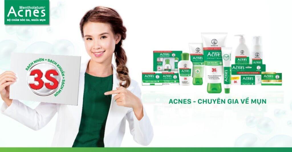 làm sạch tuyến bã nhờn cho làn da sạch mụn cùng Acnes chuyên gia về mụn