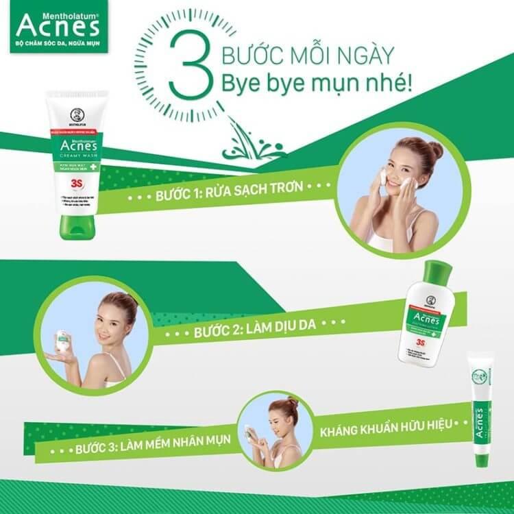 ngăn ngừa mụn với 3 bước mỗi ngày cùng acnes nhanh gọn nhất