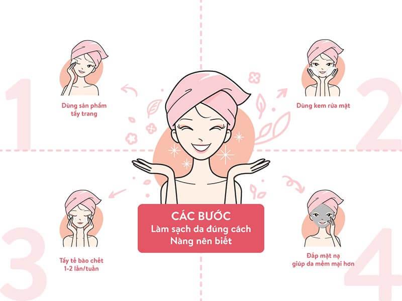 4 bước làm sạch da đúng cách đơn giản