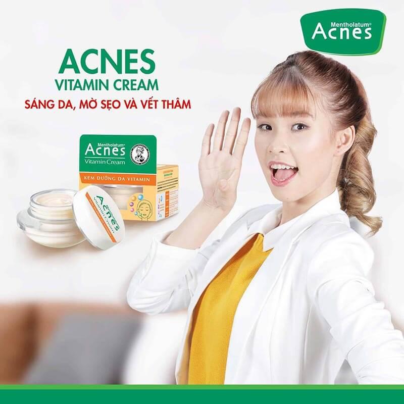 chăm sóc da, làm mờ sẹo, vết thâm và sáng da nhờ acnes vitamin cream cho cung ma kết nữ