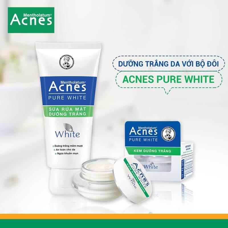 bộ đôi acnes pure white dưỡng trắng cho da nhạy cảm
