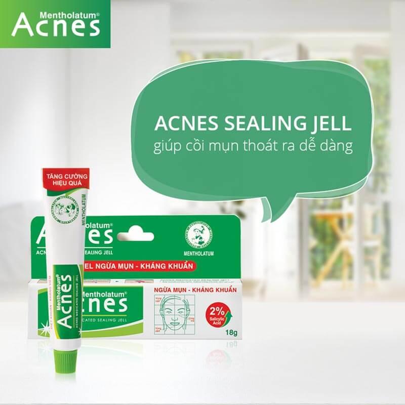 acnes sealing jell la gel tri mun khong viem, mun cam, mun dau den, mun dau trang voi ket cau gel trong suot tham nhanh