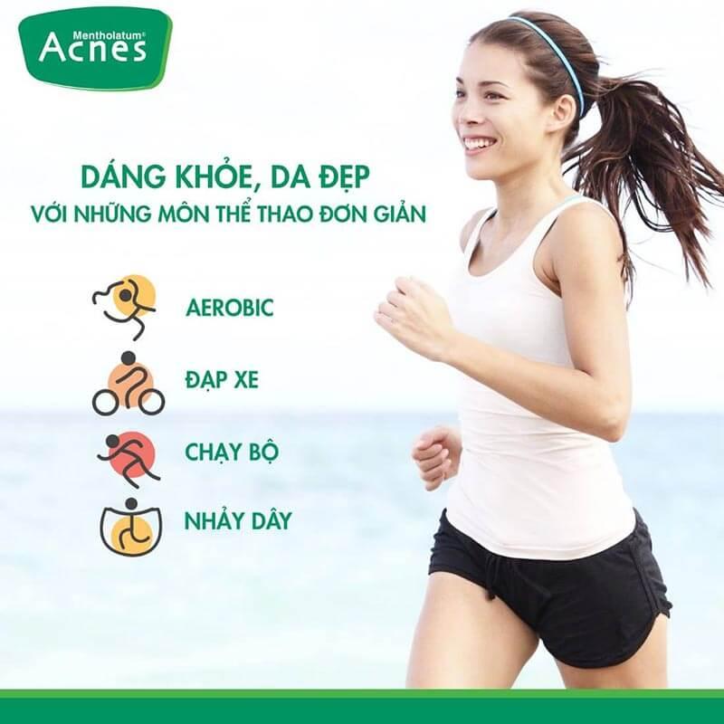 tập thể dục là thói quen tốt cho làn da khô
