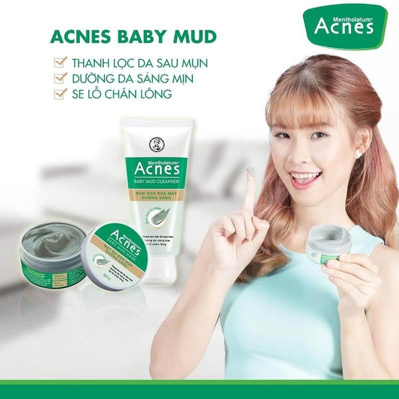 bộ đôi acnes baby mud với mặt nạ bùn non dưỡng da mịn màng