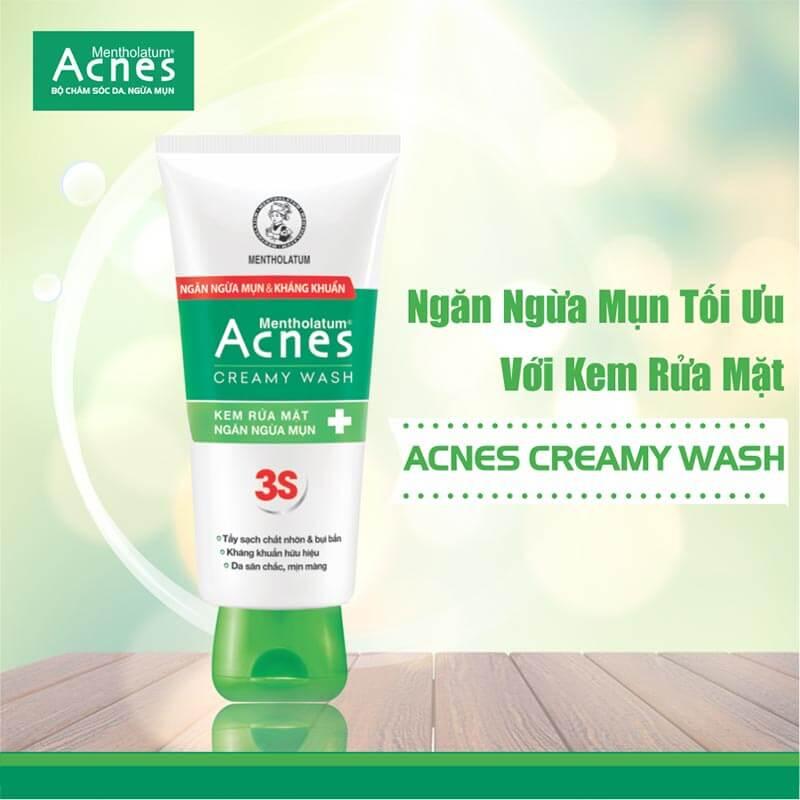 sữa rửa mặt trị mụn da khô acnes creamy wash