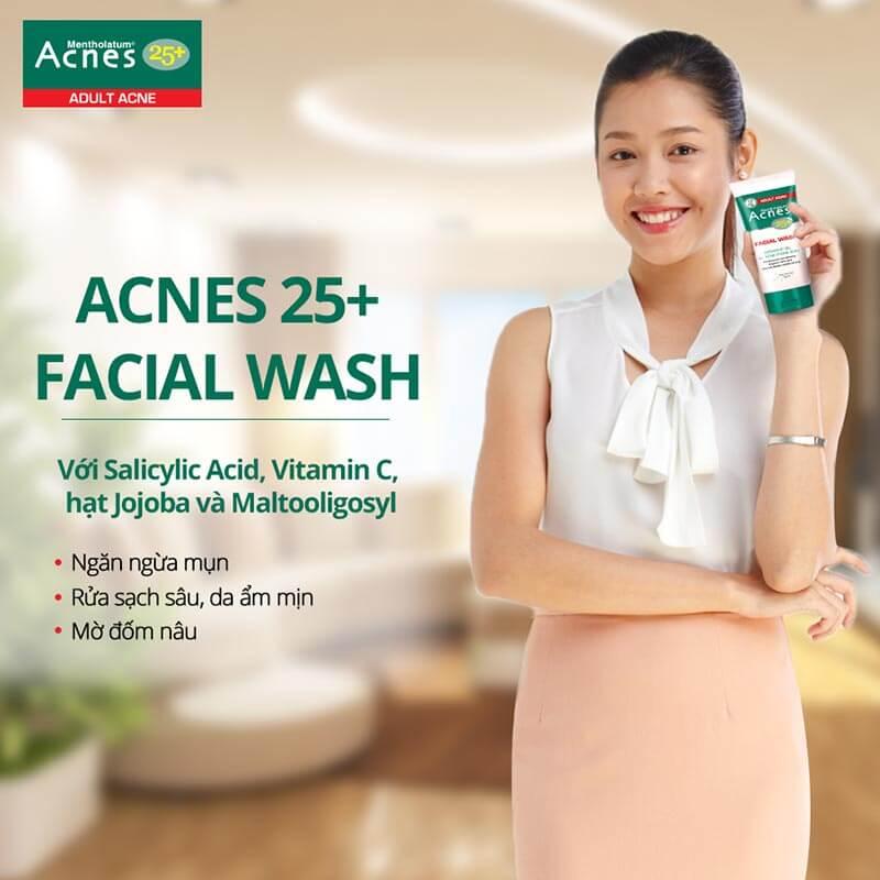 Acnes 25+ Facial Wash. gel rửa mặt đảm bảo sạch sâu, Là 1 trong 2 sản phẩm thuộc bộ đôi 25+ để trị mụn, ngăn ngừa bụi bẩn từ môi trường.