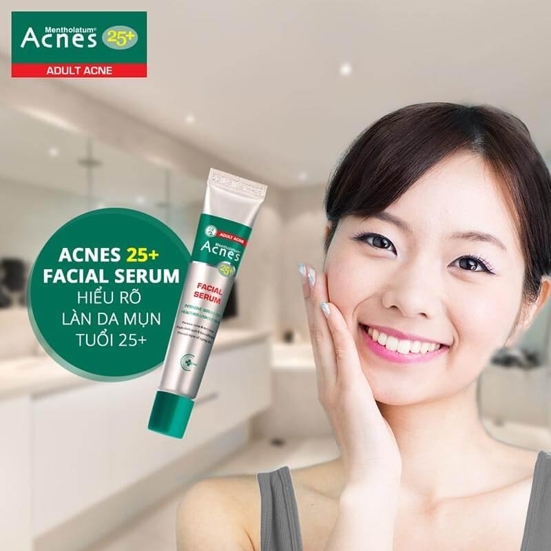 Cách trị mụn hiệu quả cùng Acnes 25+ Facial Serum, serum chuyên trị mụn và ngăn ngừa lão hóa.