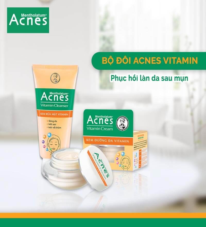 Bộ đôi sản phẩm Acnes Vitamin Cream và Acnes Vitamin Cleanser cho làn da trắng sáng sạch mụn
