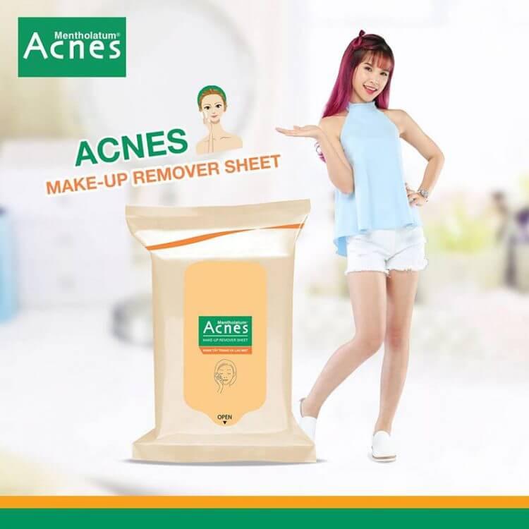 khăn tẩy trang acnes make up remover loại bỏ lớp trang điểm tiện lợi