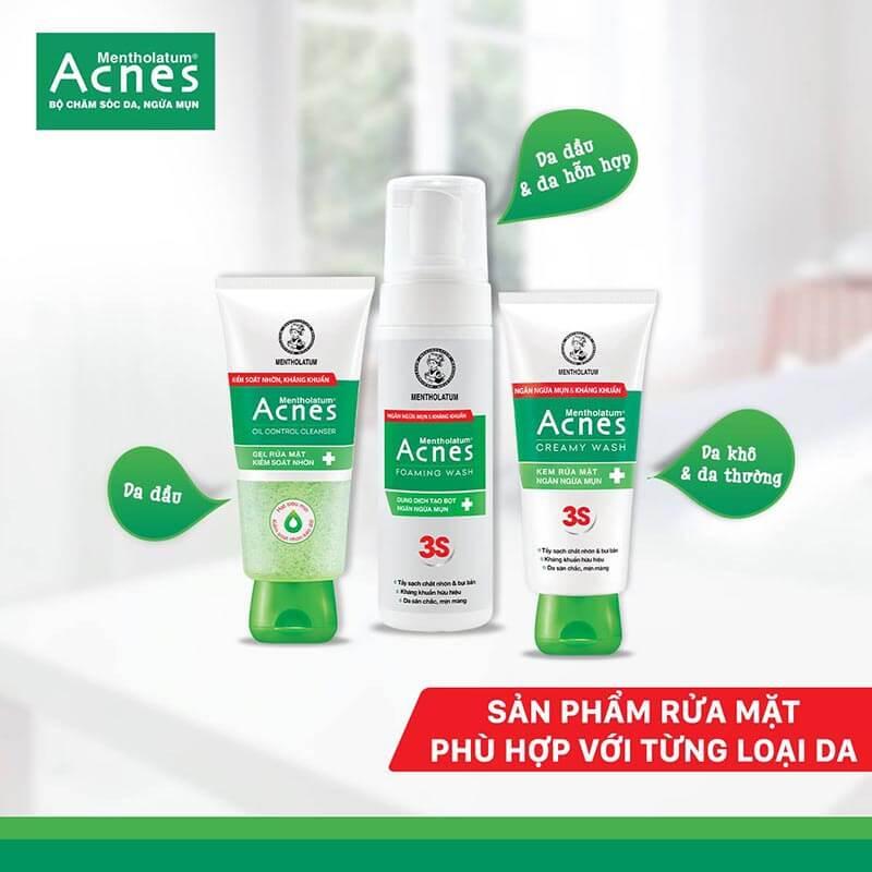 sửa rửa mặt acnes hỗ trợ trị mụn đầu đen ở mũi hiệu quả