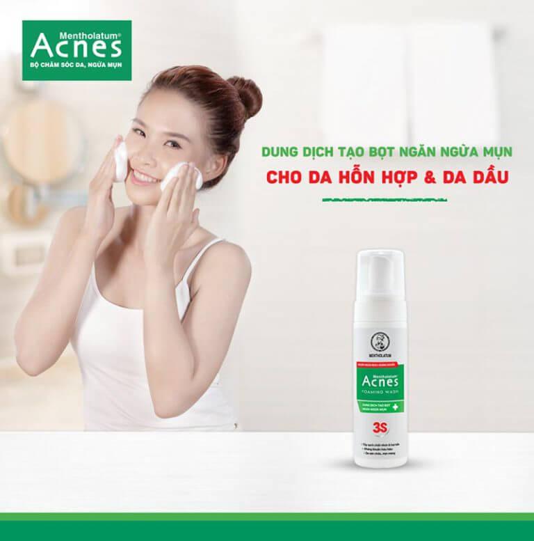 Sữa rửa mặt trị mụn Acnes Foaming Wash tạo bọt tốt