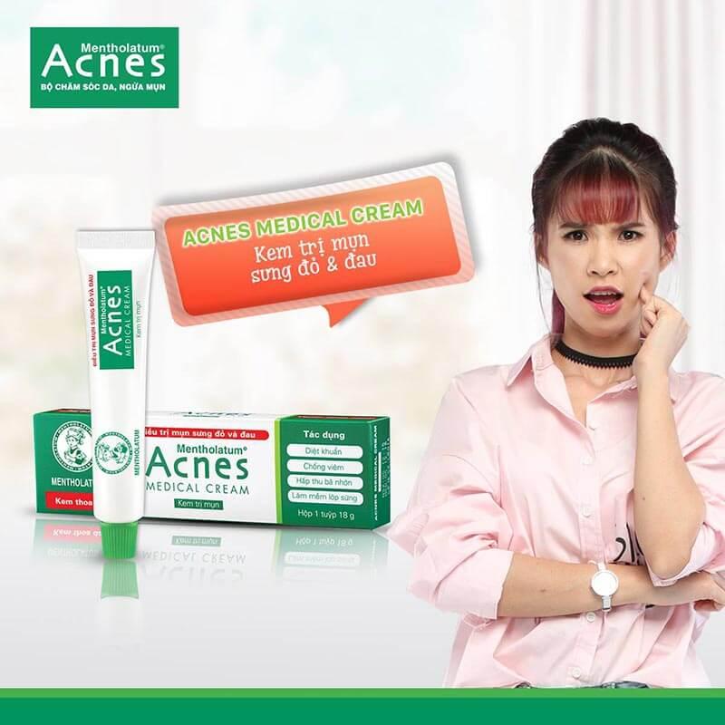 su dung kem tri mun Acnes Medical Cream cho nhung not mun sung do, mun viem nhu mun boc, mun mu, mun nang