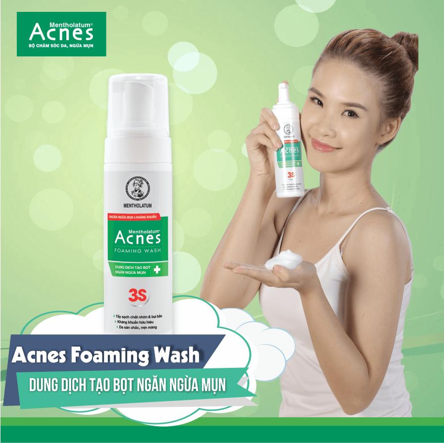 Sữa rửa mặt trị mụn Acnes Foaming Wash cho các bạn nữ năng động