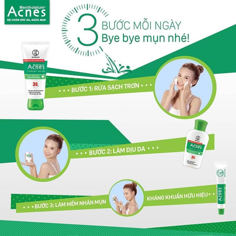 3 buoc cham soc da de tri mun dut diem hang ngay voi acnes creamy wash, acnnes soothing lotion, acnes sealing jell