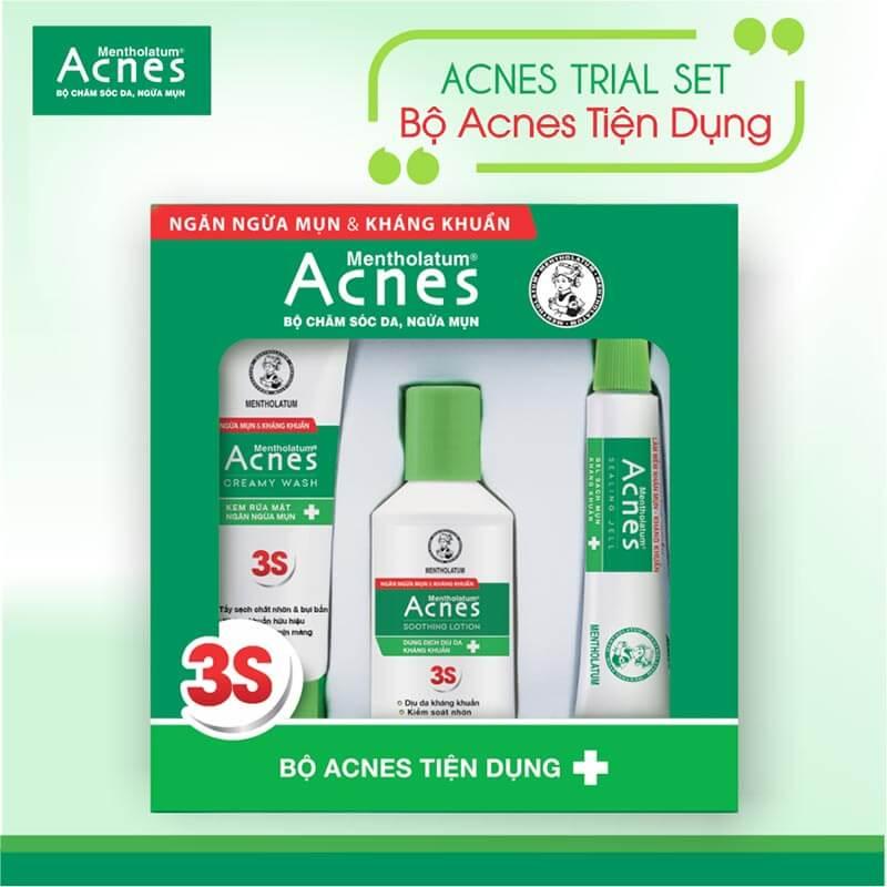 Bộ sản phẩm trị mụn và ngăn ngừa mụn Acnes Trial Set chăm sóc da mụn trứng cá như mụn đầu đen, mụn đầu trắng, mụn bọc hiệu quả