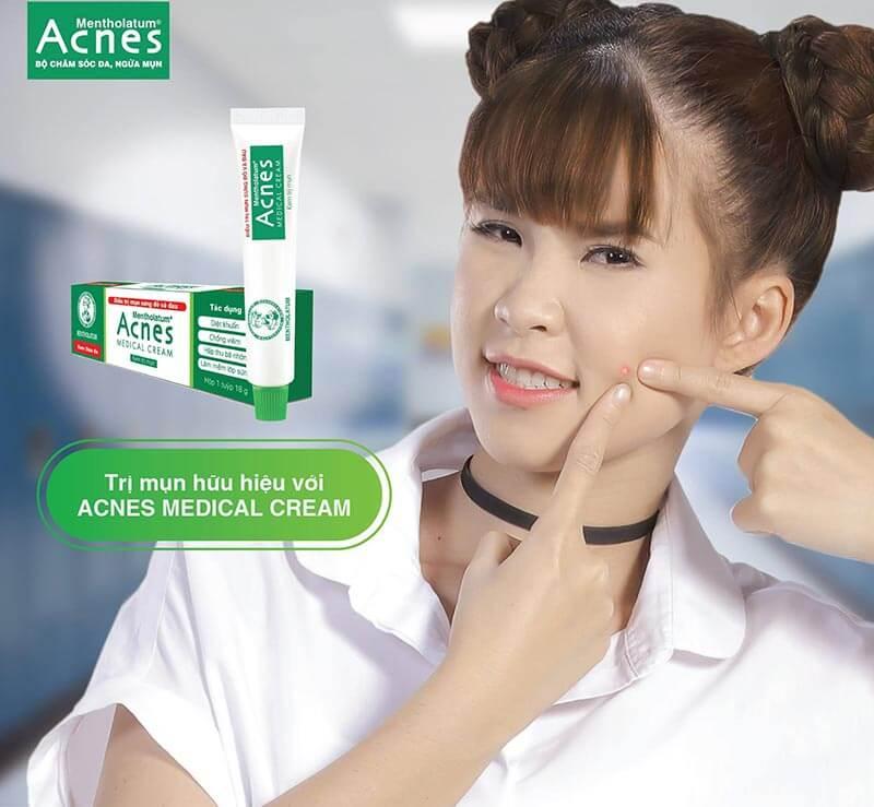 trị mụn trứng cá sưng đỏ hữu hiệu với acnes medical cream