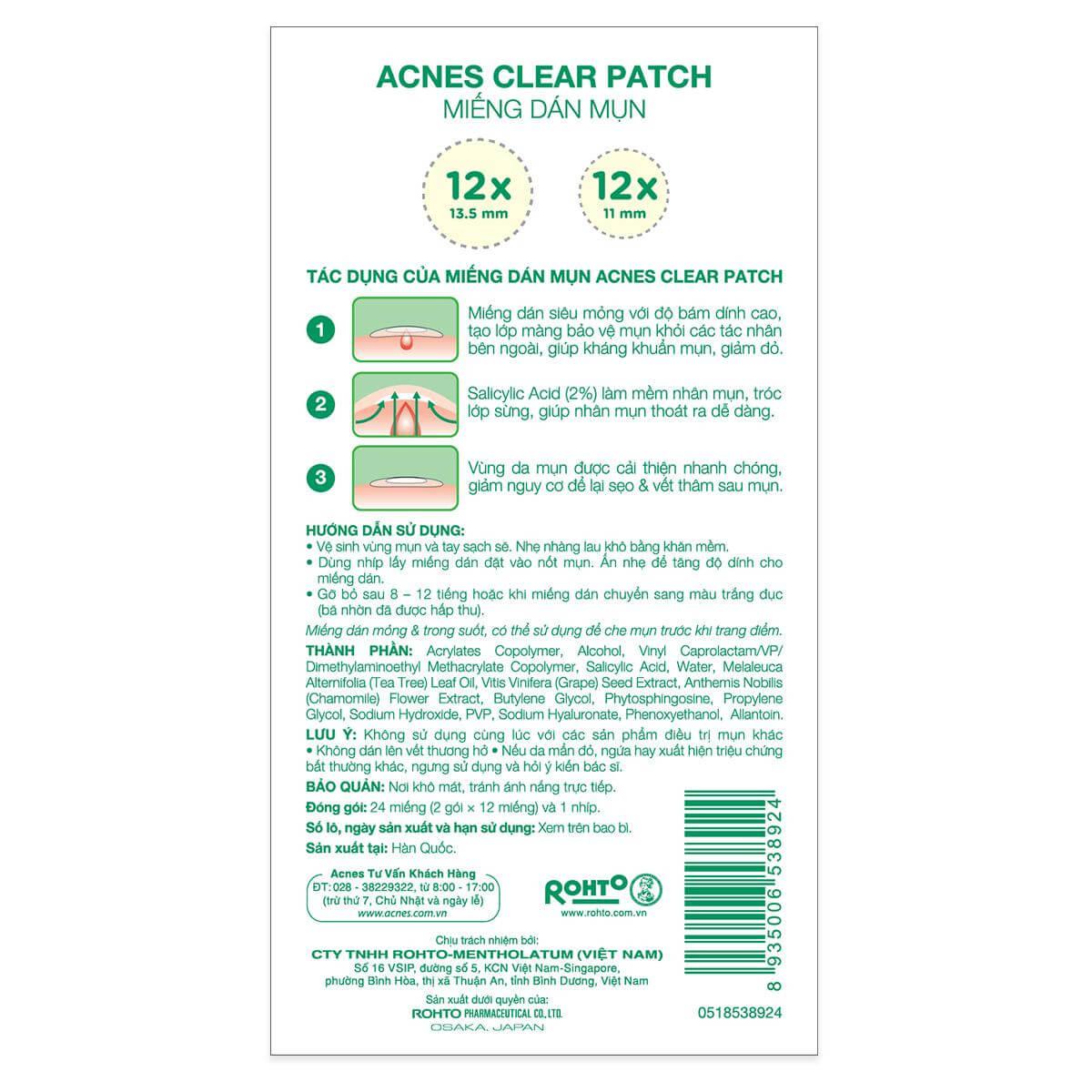 mat sau cua mieng dan mun acnes clear patch co ghi ro huong dan su dung giup ban de dang biet duoc cach dung dung