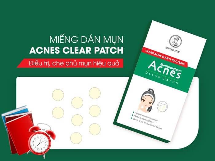 mieng dan mun acnes clear patch nhat ban giup tri cac loai mun dau trang, mun mu