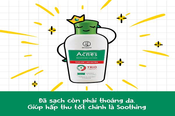 Acnes Soothing Lotion có khả năng dưỡng ẩm rất tốt cho làn da
