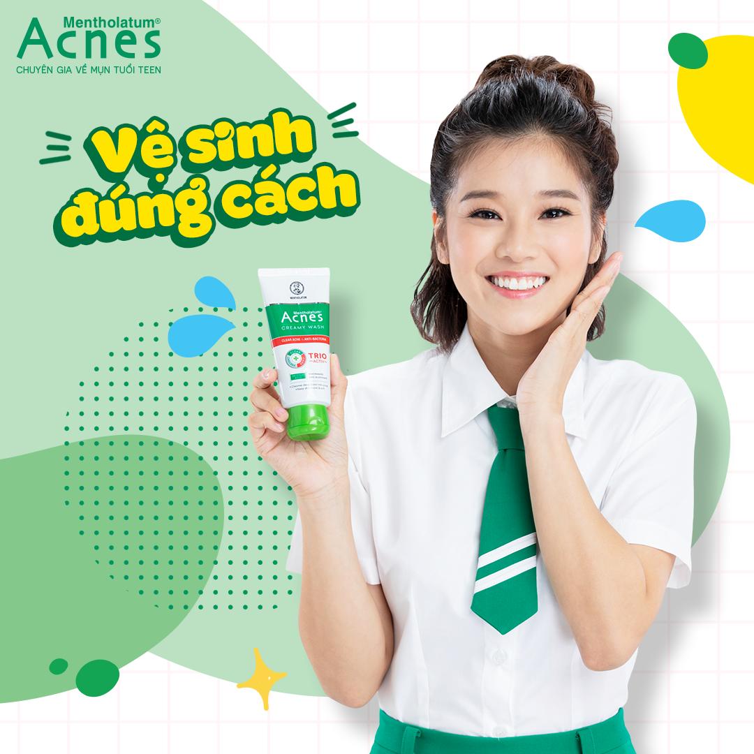 Acnes Creamy Wash với công thức Trio-Activ giúp rửa sạch bụi bẩn, kháng khuẩn gây mụn