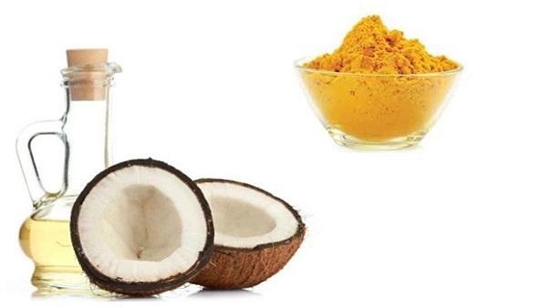 Hỗn hợp tinh bột nghệ và dầu dừa làm dịu vùng da bị tổn thương do mụn ngay tức thời